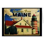 Saludos del faro de Maine Tarjeton