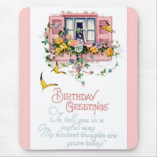 Saludos del feliz cumpleaños del vintage alfombrilla de ratones