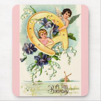 Saludos del feliz cumpleaños del vintage mouse pad