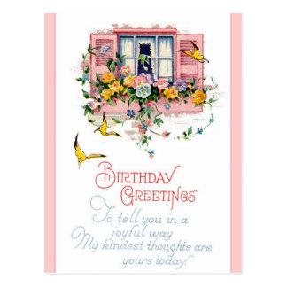 Saludos del feliz cumpleaños del vintage tarjeta postal