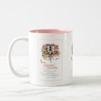 Saludos del feliz cumpleaños del vintage taza de dos tonos