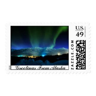 Saludos del franqueo de la aurora de Alaska