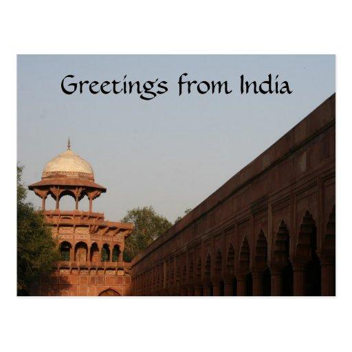 saludos del fuerte de Agra Tarjeta Postal