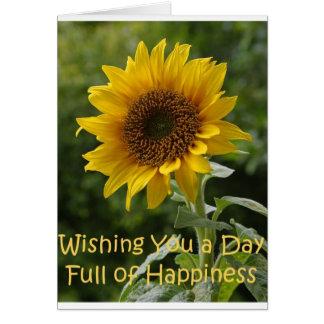 Saludos del girasol tarjeta de felicitación