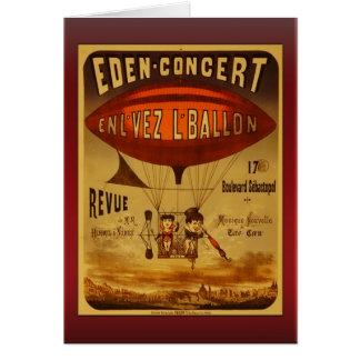 Saludos del globo del aire caliente del concierto tarjeta