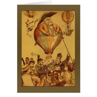 Saludos del globo del aire caliente del viejo homb tarjeta