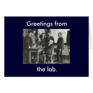 Saludos del laboratorio tarjeta pequeña