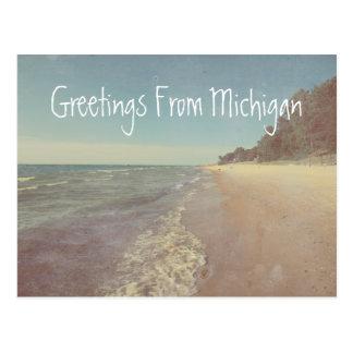 Saludos del lago Michigan hermoso Tarjetas Postales