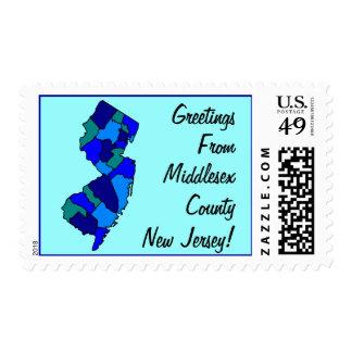 Saludos del mapa de los sellos de New Jersey su co