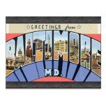 Saludos del Md de Baltimore., vintage Postales