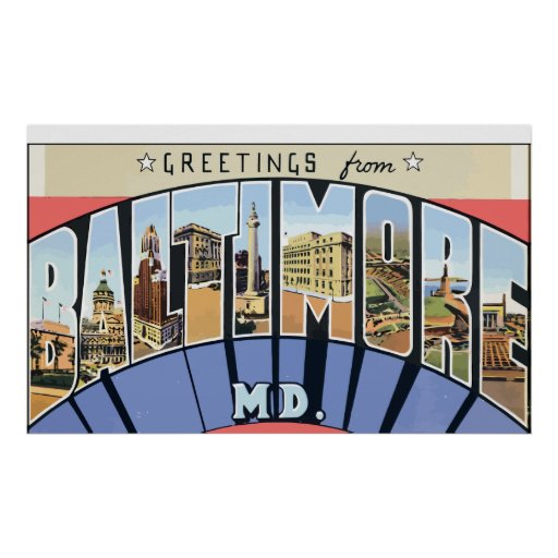 Saludos del Md de Baltimore., vintage Poster
