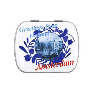 Saludos del modelo de Delftware de Holanda Amsterd Frascos De Caramelos