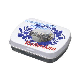 Saludos del modelo de Delftware de Holanda Rotterd Latas De Caramelos
