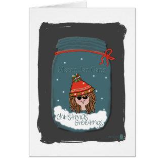 Saludos del navidad, cuadrilla del tarro de tarjeta de felicitación