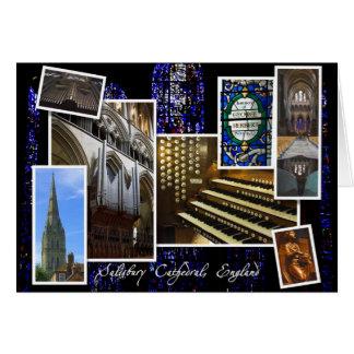 Saludos del navidad de la catedral de Salisbury Tarjeta Pequeña