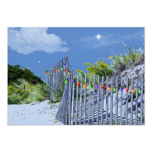 Saludos del navidad de la cerca y de las dunas de invitación 12,7 x 17,8 cm