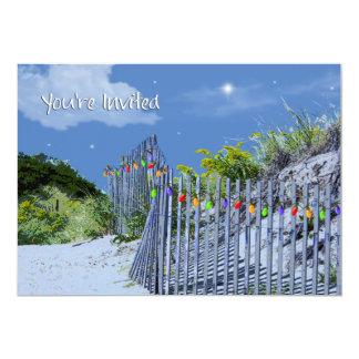 """Saludos del navidad de la cerca y de las dunas de invitación 5"""" x 7"""""""