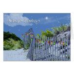 Saludos del navidad de la cerca y de las dunas de  tarjeton