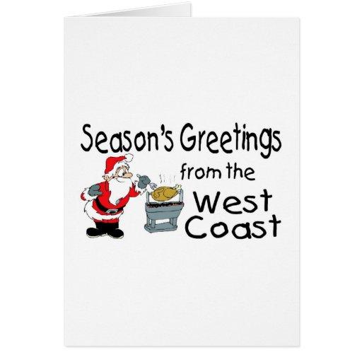 Saludos del navidad de la costa oeste felicitación