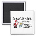 Saludos del navidad de la costa oeste imanes de nevera