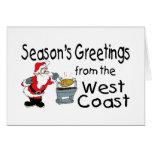 Saludos del navidad de la costa oeste felicitaciones