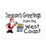 Saludos del navidad de la costa oeste tarjetas postales