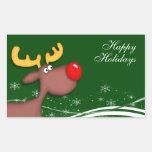 Saludos del navidad de Rudolf Pegatina Rectangular