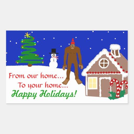 Saludos del navidad de Sasquatch Pegatina Rectangular