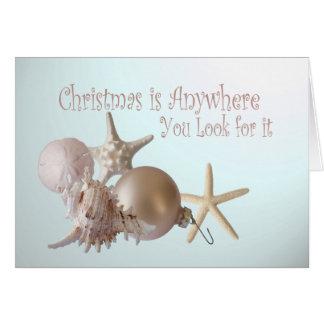 Saludos del navidad del Seashell del océano Felicitacion