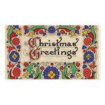 Saludos del navidad del vintage con la frontera de tarjeta de negocio