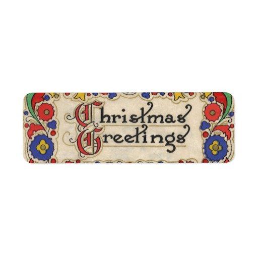 Saludos del navidad del vintage con la frontera etiqueta de remitente