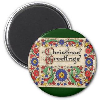 Saludos del navidad del vintage con la frontera imán redondo 5 cm