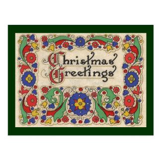 Saludos del navidad del vintage con la frontera postal