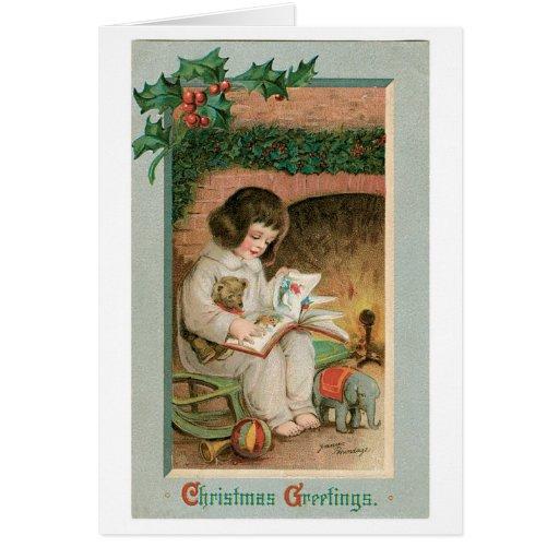 Saludos del navidad del vintage tarjeta de felicitación