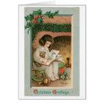 Saludos del navidad del vintage tarjetón