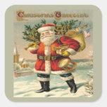 Saludos del navidad pegatina cuadrada