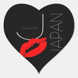 Saludos del negro rojo del beso del lápiz labial pegatina en forma de corazón