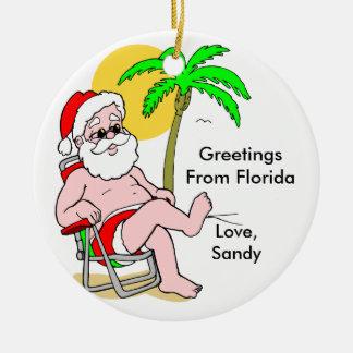 Saludos del ornamento de la Florida Adorno Navideño Redondo De Cerámica
