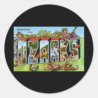 Saludos del Ozarks Pegatina Redonda