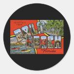 Saludos del Palm Beach la Florida Etiqueta Redonda