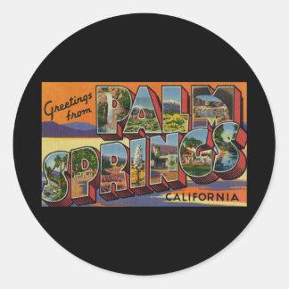 Saludos del Palm Springs California Pegatina Redonda