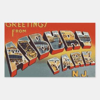 Saludos del parque de Asbury Rectangular Pegatina