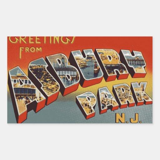 Saludos del parque NJ de Asbury Pegatina Rectangular