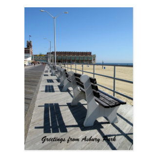 Saludos del paseo marítimo del parque de Asbury Tarjetas Postales