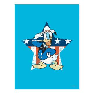 Saludos del pato Donald con la estrella de Postal