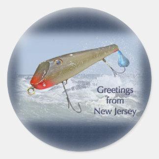 Saludos del señuelo de la pesca de New Jersey Pegatina Redonda