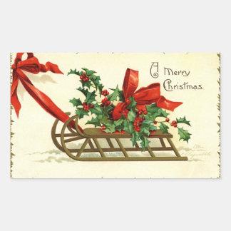 Saludos del trineo del navidad del vintage pegatina rectangular