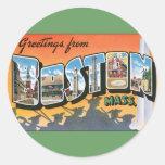Saludos del viaje del vintage de Boston Massachuse Etiquetas Redondas