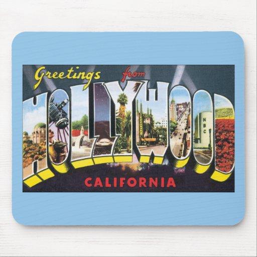 Saludos del viaje del vintage de Hollywood Califor Alfombrillas De Raton
