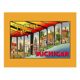 Saludos del vintage de Ann Arbor MI Tarjetas Postales
